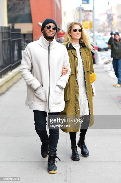 Model Doutzen Kroes and husband Sunnery James are seen walking in Soho on February 14 2017 in New York City