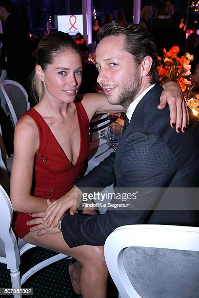 Model Doutzen Kroes and Writer Derek Blasberg attend the Sidaction Gala Dinner 2016 as part of Paris Fashion Week Held at Pavillon d'Armenonville on...