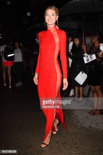 Model Doutzen Kroes arrives to the Tom Ford Spring/Summer 2018 Runway Show at Park Avenue Armory on September 6 2017 in New York City
