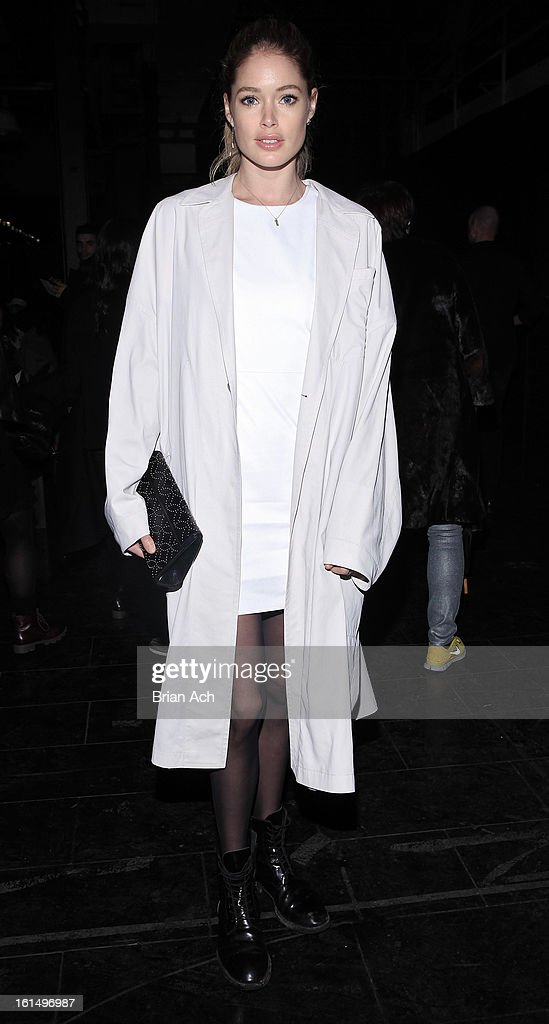 Model Doutzen Kroes attends the Theyskens' Theory fall 2013 fashion show during Mercedes-Benz Fashion Week at Skylight Studios at Moynihan Station on February 11, 2013 in New York City.