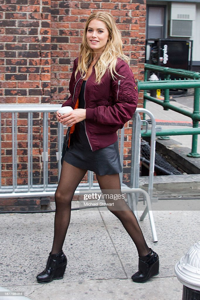 Model <a gi-track='captionPersonalityLinkClicked' href=/galleries/search?phrase=Doutzen+Kroes&family=editorial&specificpeople=859655 ng-click='$event.stopPropagation()'>Doutzen Kroes</a> seen arriving at rehearsals for the 2013 Victoria's Secret Fashion Show on November 12, 2013 in New York City.