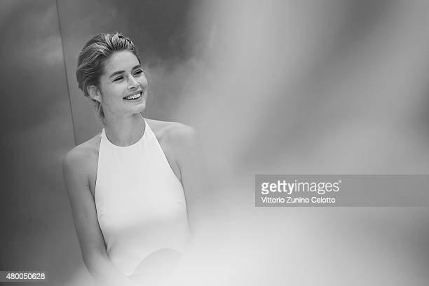 Model Doutzen Kroes speaks at the MercedesBenz Press Vernissage presentation during the MercedesBenz Fashion Week Berlin Spring/Summer 2016 at...