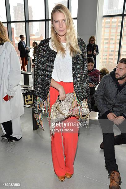 Model Dree Hemingway attends the Calvin Klein Collection fashion show during MercedesBenz Fashion Week Fall 2014 at Spring Studios on February 13...