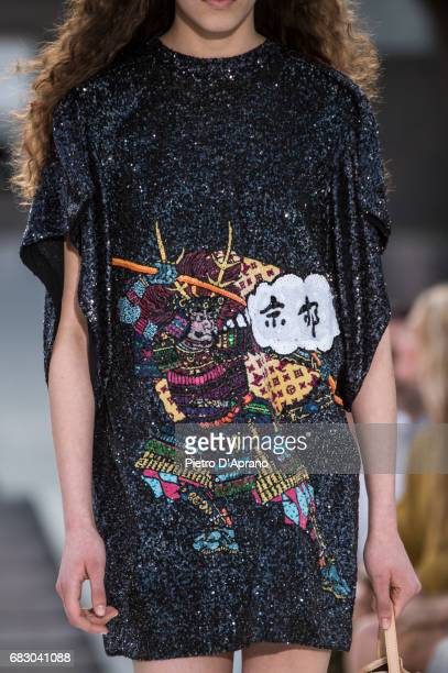 A model dress detail showcases the design on runway during the Louis Vuitton Resort 2018 show at the Miho Museum on May 14 2017 in Koka Japan