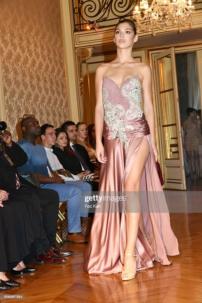 Model dressed by Zvonko Markovic walks the runway during Serbia Fashion Day at Residence de L'Ambassadeur In PAris on July 11 2016 in Paris France