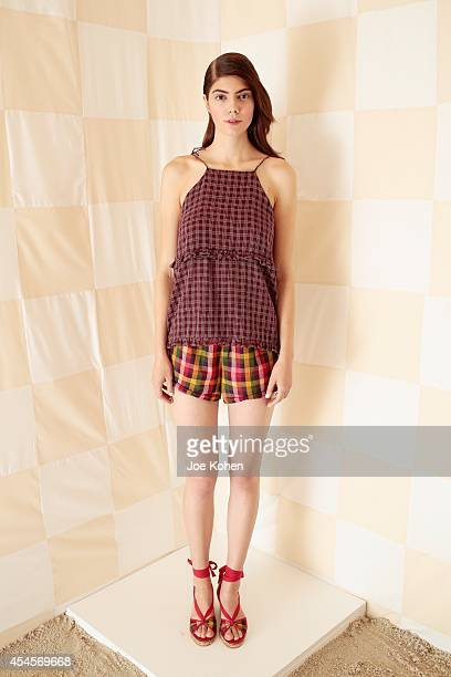 A model dressed in Litke during the Litke Spring 2015 Presentation on September 3 2014 in New York City