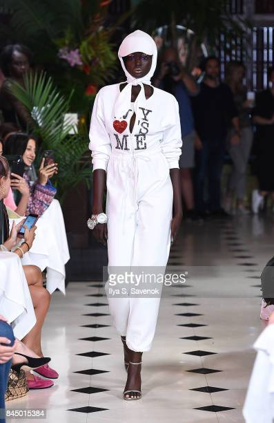 Model Duckie Thot walks the runway during Christian Cowan Spring Summer 2018 Fashion Show at Indochine on September 9 2017 in New York City