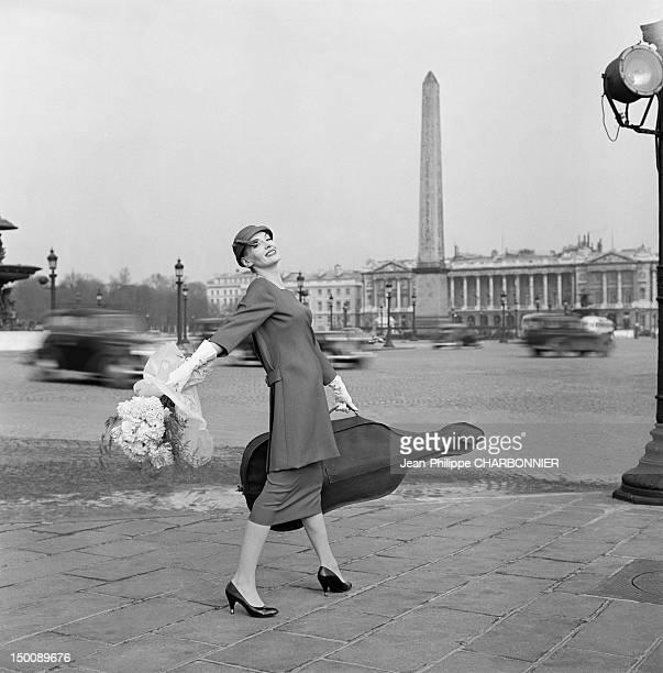 A model during a photo shoot on the Place de la Concorde 1960 in Paris France