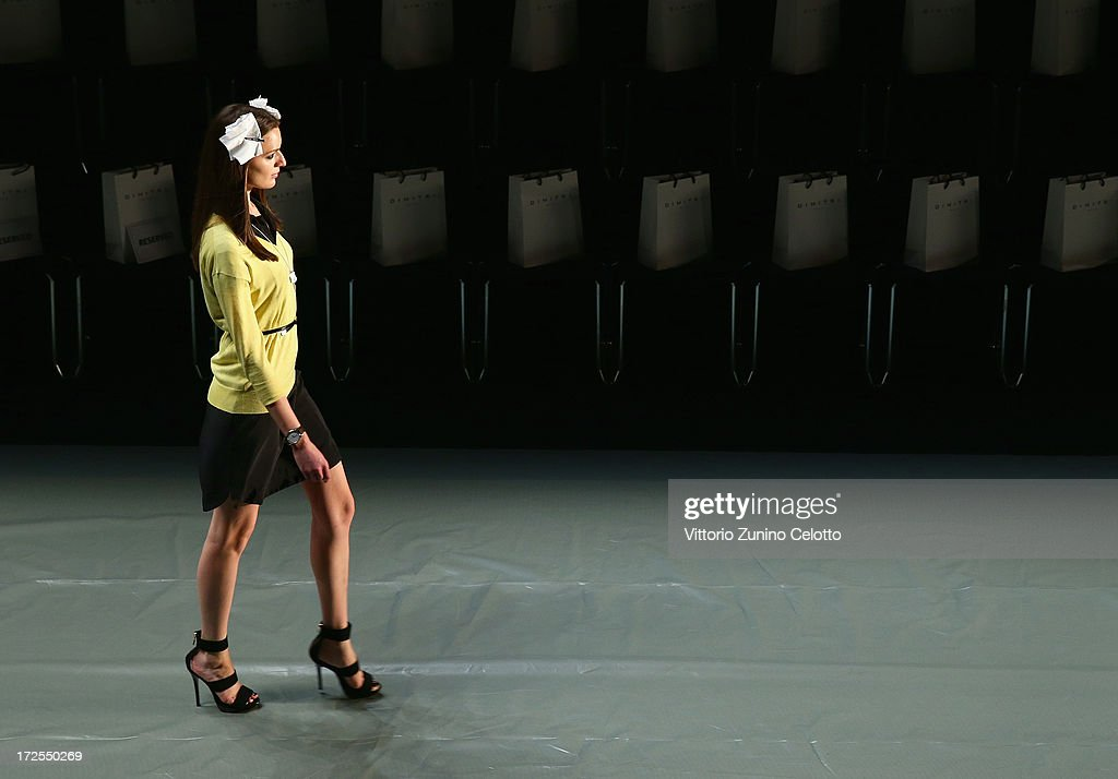 A model during rehearsals ahead of the Dimitri show during Mercedes-Benz Fashion Week Spring/Summer 2014 at Brandenburg Gate on July 3, 2013 in Berlin, Germany.
