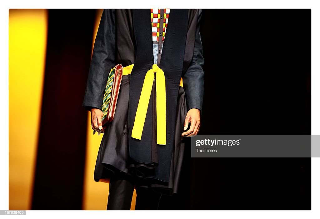 A model during the Mercedes-Benz Fashion Week on November 3, 2013 in Pretoria, South Africa. The show took place in Pretoria for the first time over weekend, with David Tlale stealing the show by presenting his collection on a railway platform at the Ravos Rail Station.