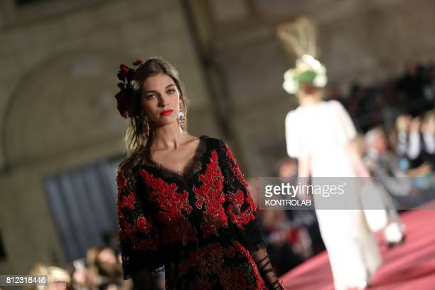 SQUARE PALERMO SICILY ITALY A model during the parade of Dolce and Gabbana in Pretoria Square in Palermo Sicily southern Italy