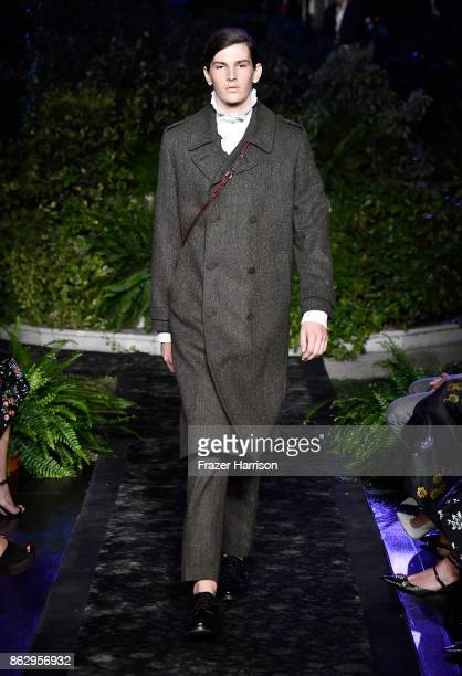 Model Dylan Brosnan at HM x ERDEM Runway Show Party at The Ebell Club of Los Angeles on October 18 2017 in Los Angeles California
