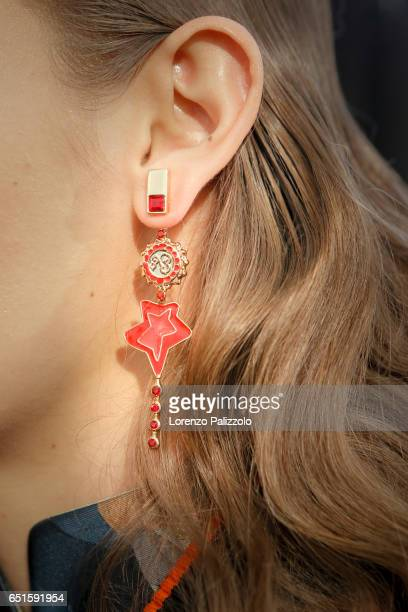 A model earring detail is seen backstage before the Shiatzy Chen show as part of the Paris Fashion Week Womenswear Fall/Winter 2017/2018 on March 7...