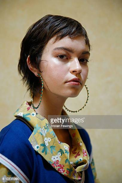 A model earring detail seen backstage ahead of the Stella Jean show during Milan Fashion Week Spring/Summer 2017 on September 25 2016 in Milan Italy
