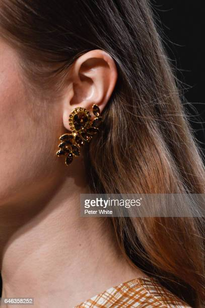 A model earring detail walks the runway at Brock Collection Show during New York Fashion Week Fall Winter 20172018 at Gallery 2 Skylight Clarkson Sq...
