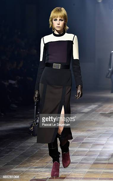 Model Edie Campbell walks the runway during the Lanvin show as part of the Paris Fashion Week Womenswear Fall/Winter 2015/2016 on March 5 2015 in...