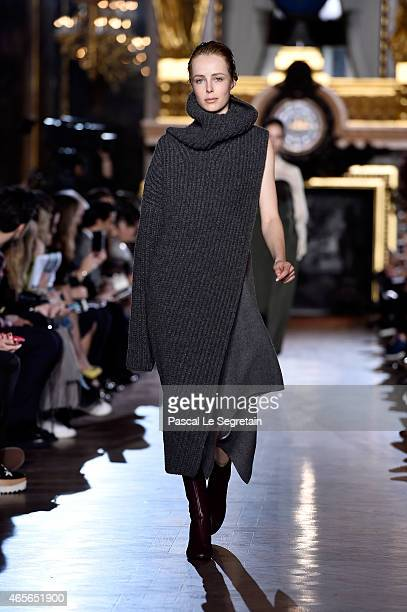 Model Edie Campbell walks the runway during the Stella McCartney show as part of the Paris Fashion Week Womenswear Fall/Winter 2015/2016 on March 9...