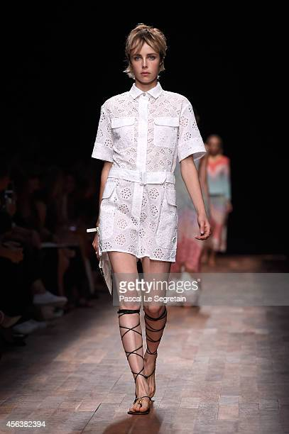 Model Edie Campbell walks the runway during the Valentino show as part of the Paris Fashion Week Womenswear Spring/Summer 2015 on September 30 2014...