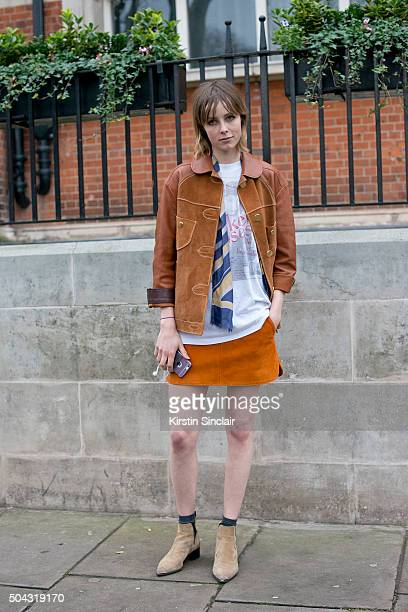 Model Edie Campbell wears all Coach on day 2 of London Collections Men on Januay 9 2016 in London England