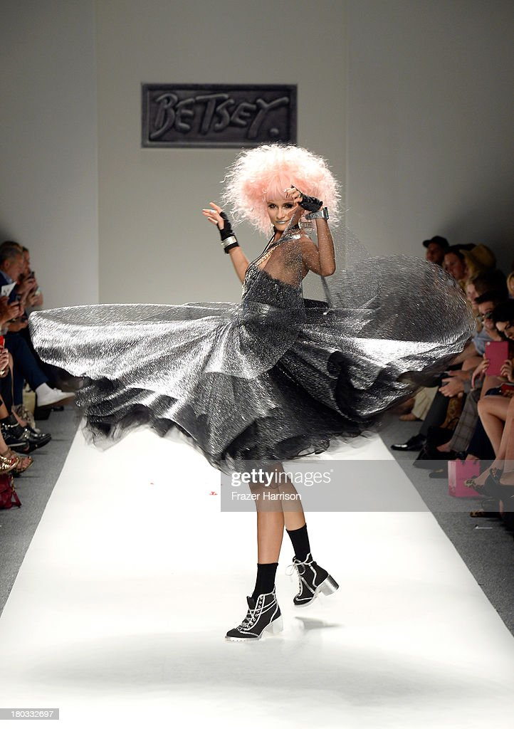 Model Elena Kurnosova walks the runway at the Betsey Johnson fashion show during Mercedes-Benz Fashion Week Spring 2014 at The Studio at Lincoln Center on September 11, 2013 in New York City.