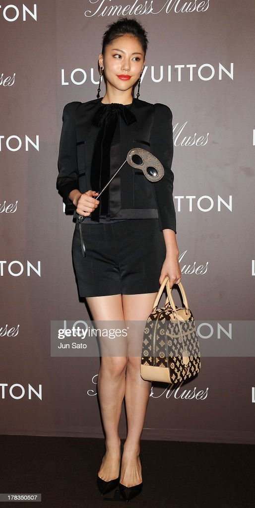 Model Elena Mizusawa attends Louis Vuitton 'Timeless Muses' exhibition at the Tokyo Station Hotel on August 29, 2013 in Tokyo, Japan.