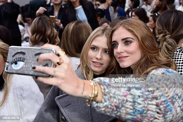 Model Elena Perminova and Designer Chiara Ferragni attend the Chloe show as part of the Paris Fashion Week Womenswear Spring/Summer 2016 on October 1...