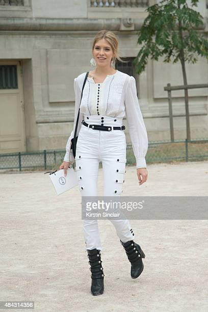 Model Elena Perminova wears all Isabel Marant and Chloe bag on day 3 of Paris Fashion Week Haute Couture Autumn/Winter 2015 on July 7 2015 in Paris...