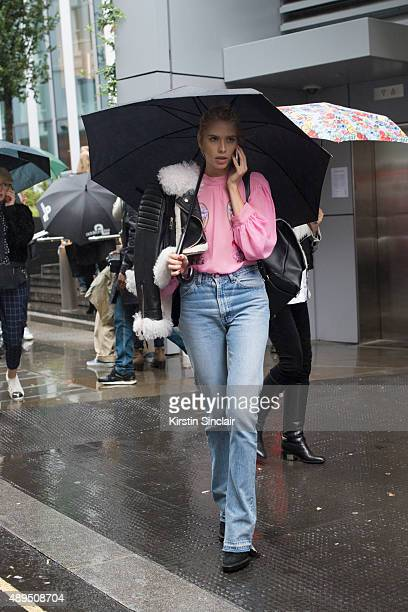 Model Elena Perminova wears Christopher Kane top Burberry shoes and Kurt Geiger bag on day 4 during London Fashion Week Spring/Summer 2016/17 on...