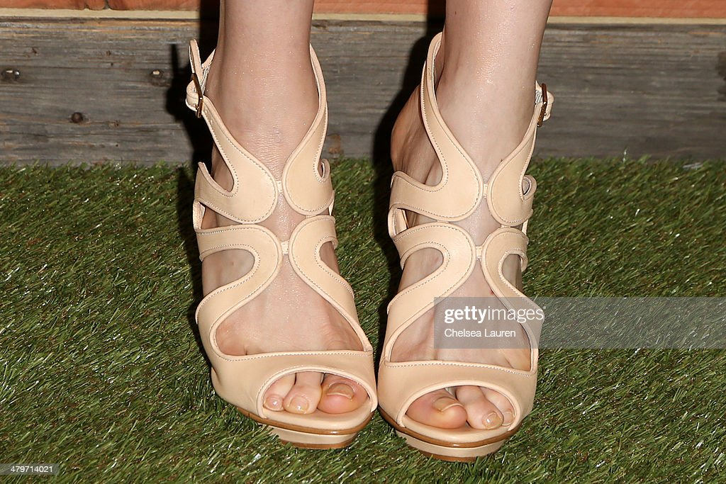 Model Elettra Wiedemann (shoe detail) attends H&M Conscious Exclusive Dinner at Eveleigh on March 19, 2014 in West Hollywood, California.