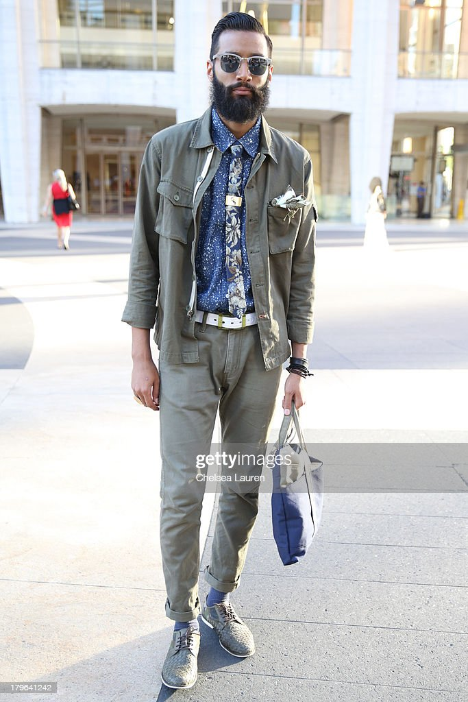 Model Eli Soul is seen wearing All Sons, Brooklyn Cloth and Pocket Square Clothing on the streets of Manhattan on September 5, 2013 in New York City.