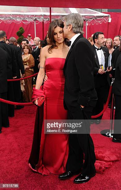 Model Elisabetta Canalis and actor George Clooney arrive at the 82nd Annual Academy Awards held at Kodak Theatre on March 7 2010 in Hollywood...