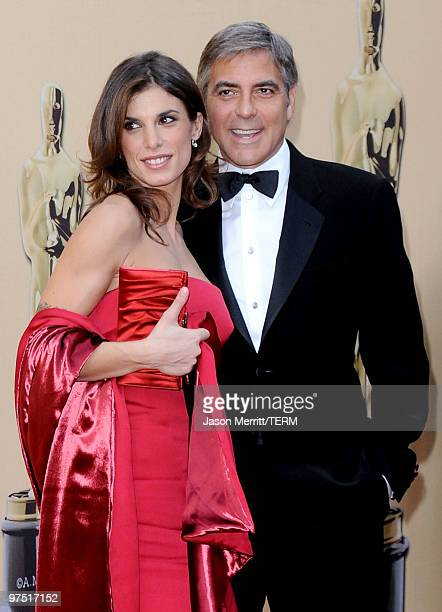 Model Elisabetta Canalis and actor George Clooney arrives at the 82nd Annual Academy Awards held at Kodak Theatre on March 7 2010 in Hollywood...