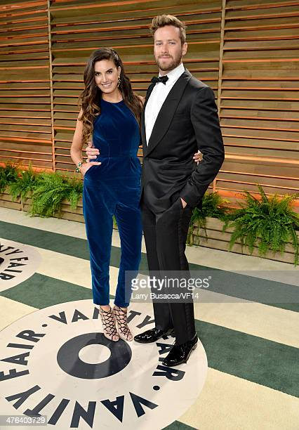 Model Elizabeth Chambers and actor Armie Hammer attend the 2014 Vanity Fair Oscar Party Hosted By Graydon Carter on March 2 2014 in West Hollywood...