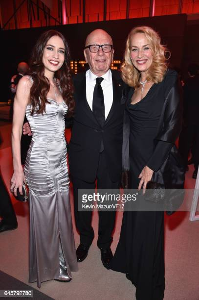 Model Elizabeth Jagger Rupert Murdoch and model Jerry Hall attend the 2017 Vanity Fair Oscar Party hosted by Graydon Carter at Wallis Annenberg...