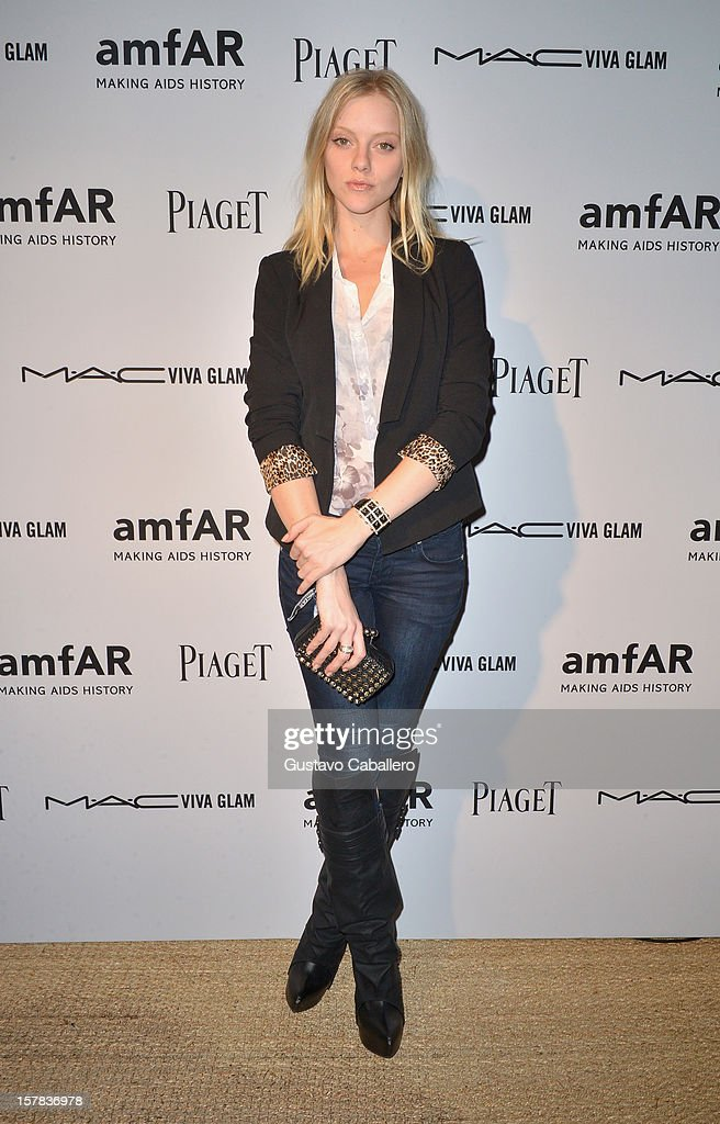 Model Elle Evans attends the amfAR Inspiration Miami Beach Party at Soho Beach House on December 6, 2012 in Miami Beach, Florida.