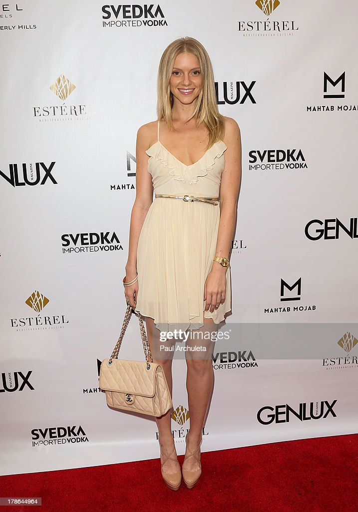 Model Elle Evans attends the Genlux Magazine release party at Sofitel Hotel on August 29, 2013 in Los Angeles, California.