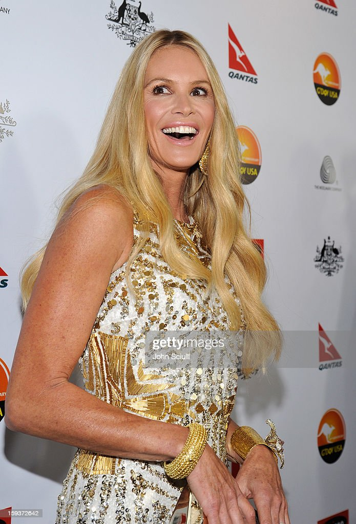 Model Elle Macpherson arrives at the 2013 G'Day USA Los Angeles Black Tie Gala at JW Marriott Los Angeles at L.A. LIVE on January 12, 2013 in Los Angeles, California.