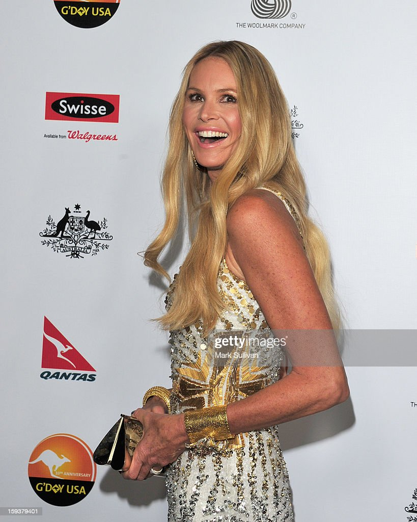 Model Elle Macpherson arrives for the G'Day USA Black Tie Gala held at at the JW Marriot at LA Live on January 12, 2013 in Los Angeles, California.
