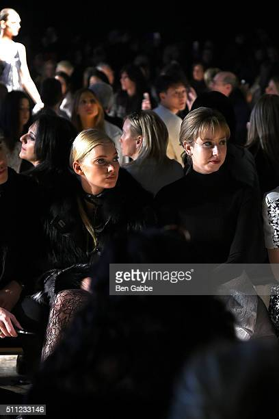 Model Elsa Hosk and Jazmin Grimaldi attend the J Mendel fashion show during Fall 2016 New York Fashion Week at Cedar Lake on February 18 2016 in New...