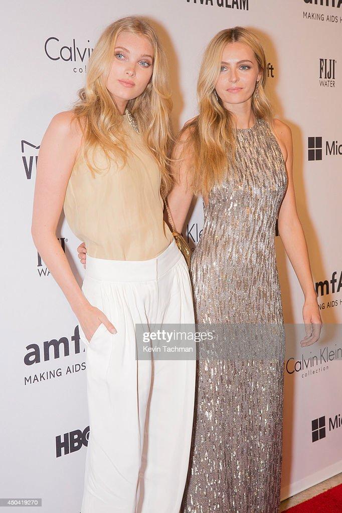 Model Elsa Hosk and model Valentina Zelyaeva attends the amfAR Inspiration Gala New York 2014 at The Plaza Hotel on June 10 2014 in New York City