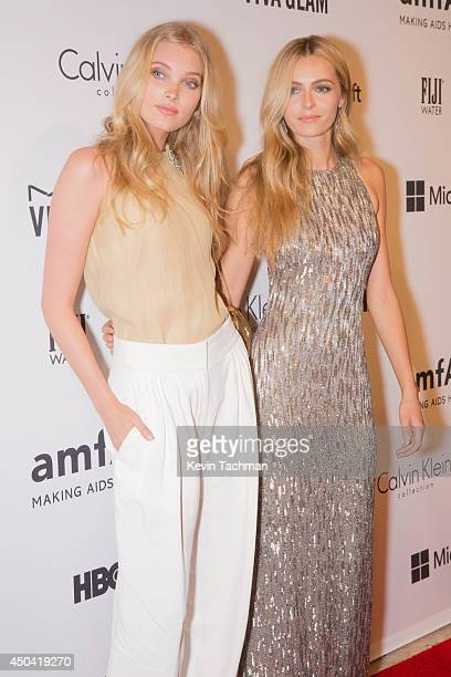 Model Elsa Hosk and model Valentina Zelyaeva attends the amfAR Inspiration Gala New York 2014 at The Plaza Hotel on June 10 2014 in New York City