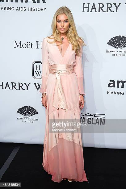 Model Elsa Hosk attends the 2015 amfAR New York Gala at Cipriani Wall Street on February 11 2015 in New York City