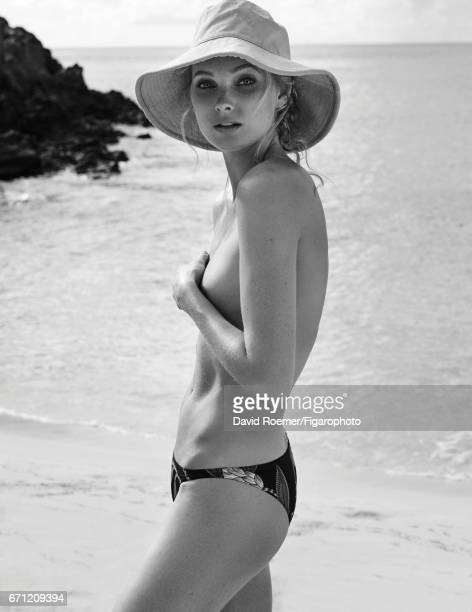 Model Elsa Hosk is photographed for Madame Figaro on February 18 2017 on Saint Barthelemy Beauty by Biotherm Bikini bottoms hat PUBLISHED IMAGE...