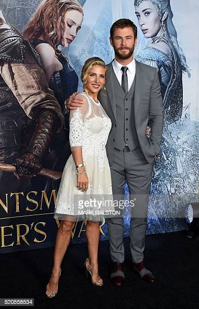 Model Elsa Pataky and actor Chris Hemsworth arrive for the premiere of of 'The Huntsman Winter's War' at the Regency Village Theatre in Westwood...