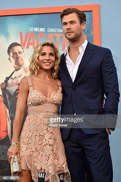 Model Elsa Pataky and actor Chris Hemsworth attend the premiere of Warner Bros Pictures 'Vacation' at Regency Village Theatre on July 27 2015 in...