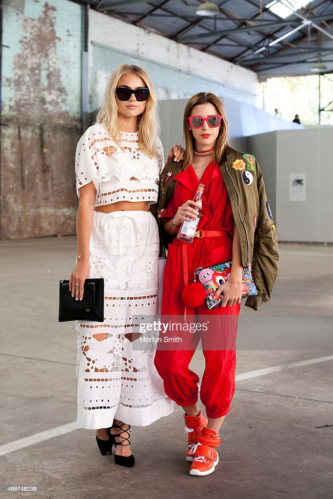 Model Elyse Knowles wears an Alice McCall top and trousers and Wittner shoes and guest at MercedesBenz Fashion Week Australia 2015 at Carriageworks...
