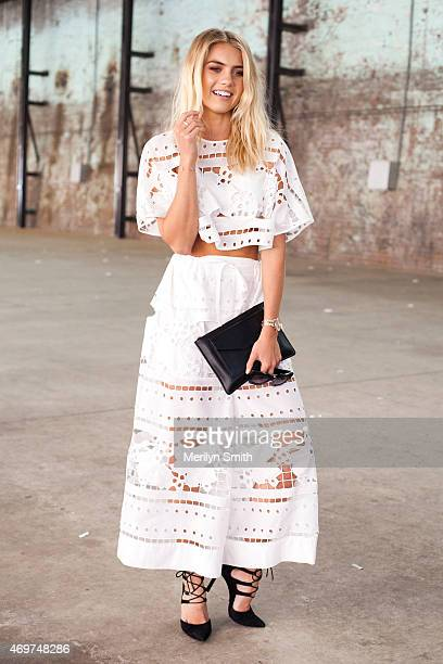 Model Elyse Knowles wears an Alice McCall top and trousers and Wittner shoes at MercedesBenz Fashion Week Australia 2015 at Carriageworks on April 14...