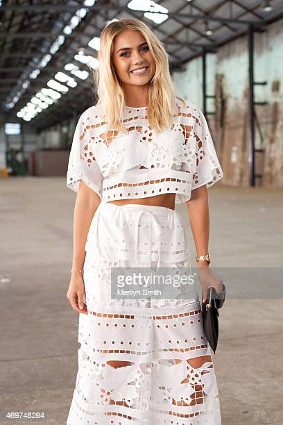 Model Elyse Knowles wears an Alice McCall top and trousers at MercedesBenz Fashion Week Australia 2015 at Carriageworks on April 14 2015 in Sydney...