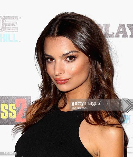 Model Emily Ratajkowski arrives at the Playboy and Universal Pictures' 'KickAss 2' event at ComicCon sponsored by AXE Black Chill on July 19 2013 in...