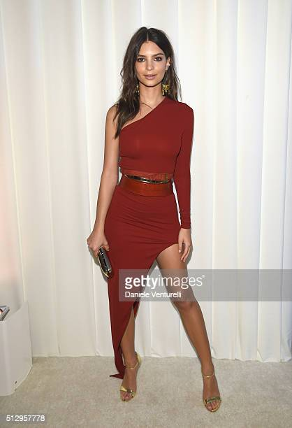 Model Emily Ratajkowski attends Bulgari at the 24th Annual Elton John AIDS Foundation's Oscar Viewing Party at The City of West Hollywood Park on...